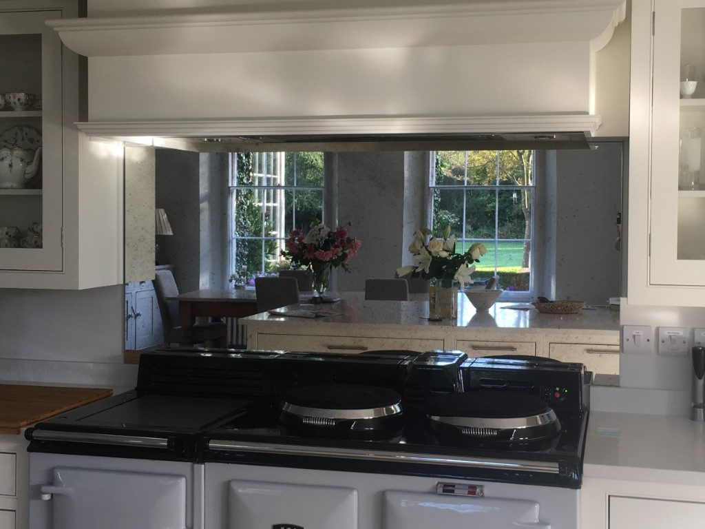 Mirror Glass Splashbacks - Antique mirror Bronze kitchen ...