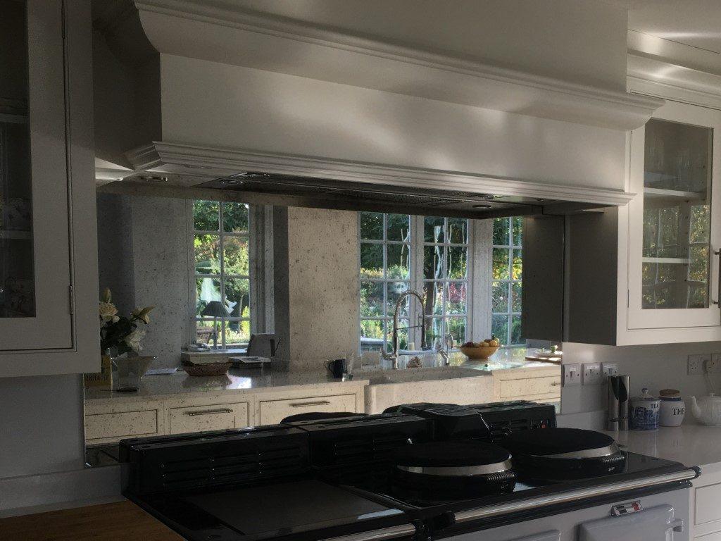 Mirror Glass Splashbacks - Antique mirror Bronze kitchen ...