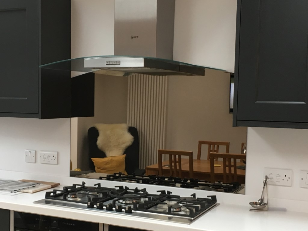 Bronze glass mirror splashback