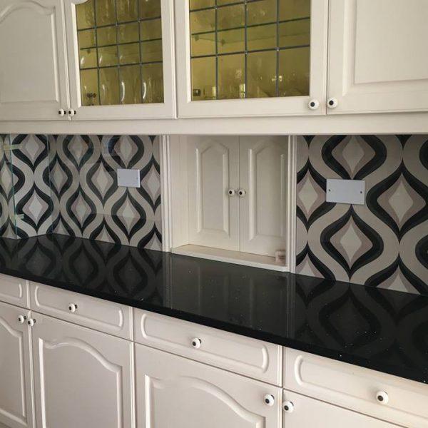 Clear Glass Splashbacks Over Wallpaper