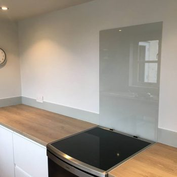 fog grey glass splashback