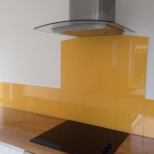 golden saffron glass splashback uk