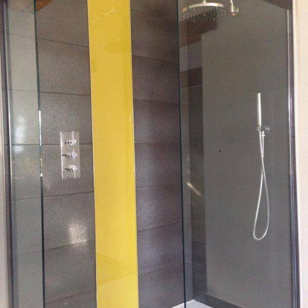 golden saffron glass shower splashback