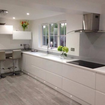 grey steel glass splashback