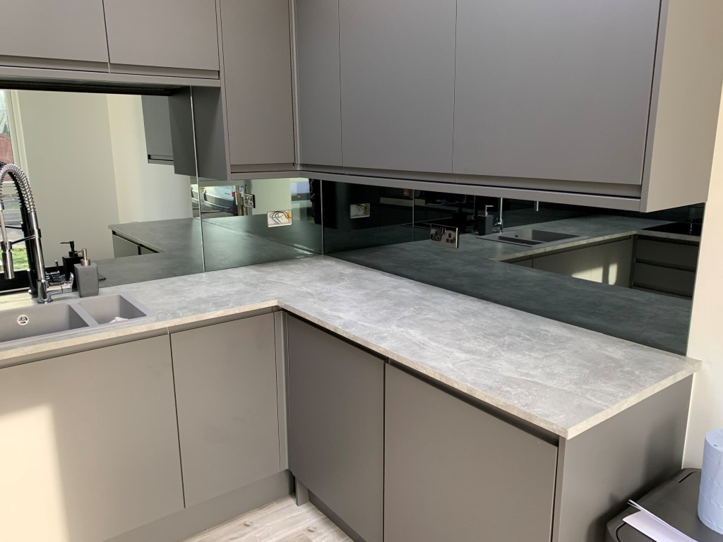 Grey Tinted Mirror Glass Splashback For Kitchen