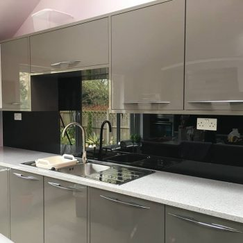 jet black glass splashback