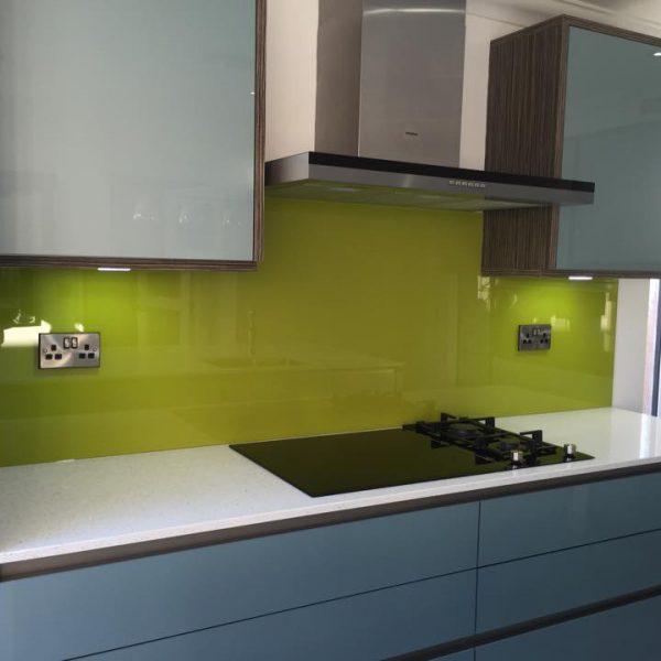 lime green kitchen splashback uk