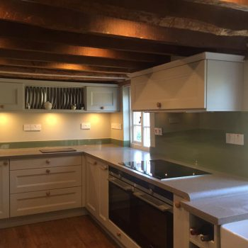 made to measure glass splashback olive green