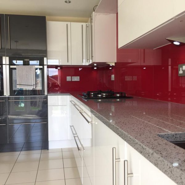 ruby red made to measure kitchen splashback