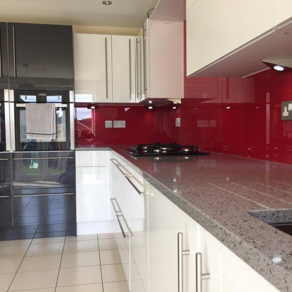 ruby red made to measure kitchen splashback