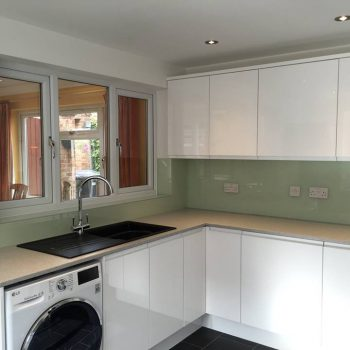 sage green glass made to measur splashback