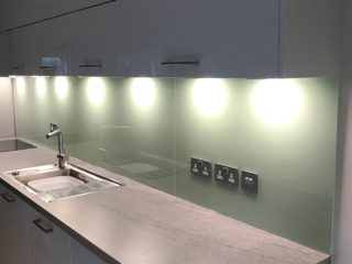 Sage Green Kitchen Glass backsplash