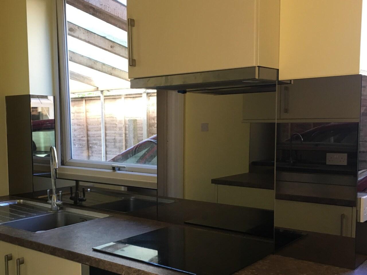 Bronze Mirrored Kitchen Splashback