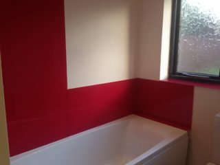 Coloured Bathroom Spashback Red