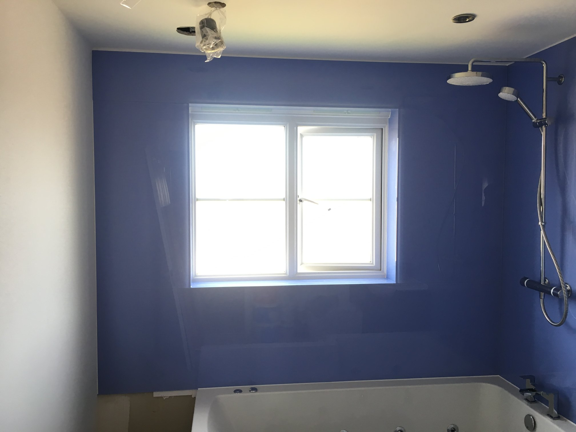 Coloured Bathroom Splashback Blue