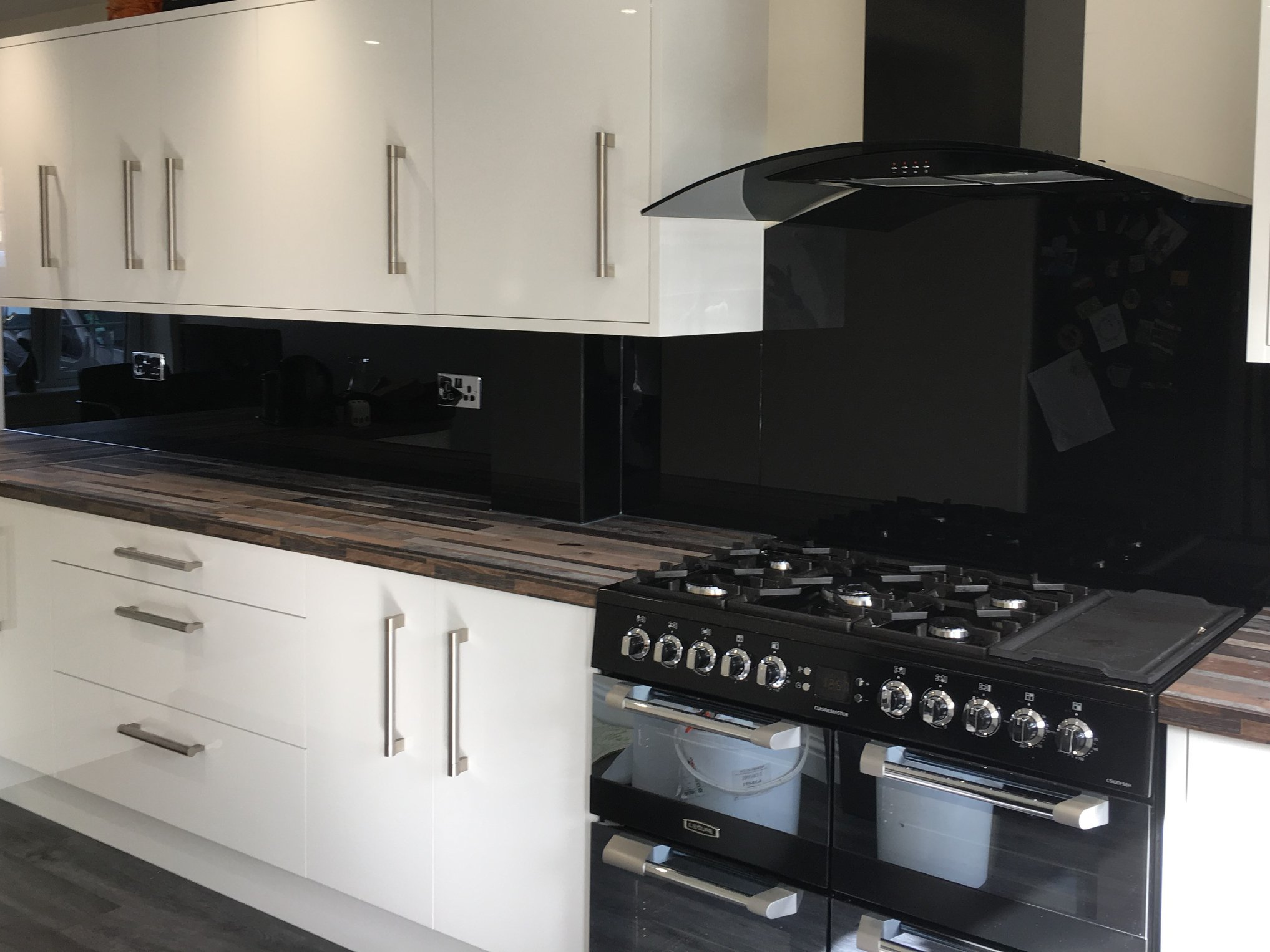 Glass Kitchen Splashback In Black