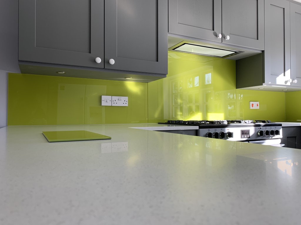 Kitchen Glass Splashback In Lime