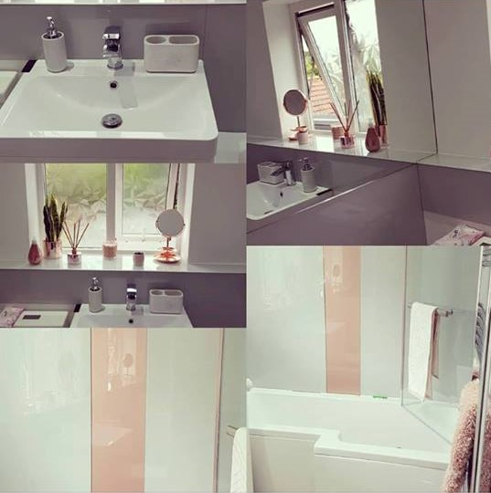 Rose Gold And Grey Colour Match Bathroom Splashback
