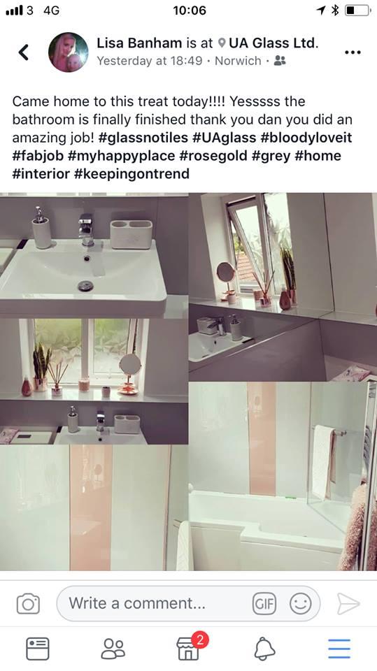 Rose Gold And Grey Colour Match Bathroom Splashback